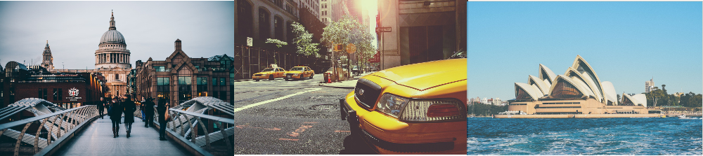 Cathedral in London | Yellow cab in New York | Sydney Opernhaus